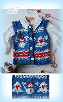 Detské oblečenie - Vestička so snehuliakom. - 8990326_