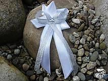 Pierka - Svadobné pierko veľké - biela & strieborná - 8991195_