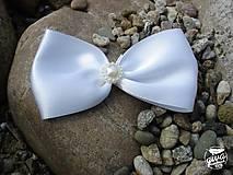 Darčeky pre svadobčanov - Mašlička na výslužky - biela - 8991347_