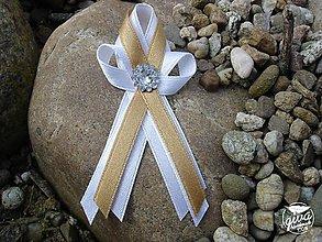 Pierka - Svadobné pierko stredné - biela & zlatá - 8991299_