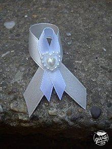 Darčeky pre svadobčanov - Stuha na malé fľaše - biela & ivory - 8991333_