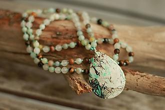 Náhrdelníky - Dlhý náhrdelník z minerálov amazonit, jadeit, tigrie oko - 8988045_