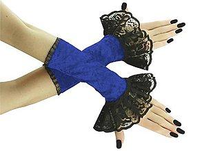 Rukavice - Spoločenské bezprstové rukavice čierno modré 03 - 8995507_