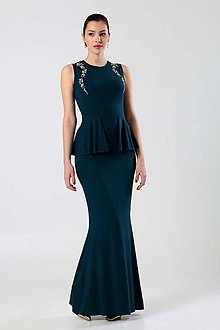 Šaty - Dlhé šaty so zlatou výšivkou - 8992479_