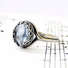 Prstene - Blue Topaz & Silver Ag 925 / Strieborný vintage prsteň s pravým topásom /0418 - 8992193_