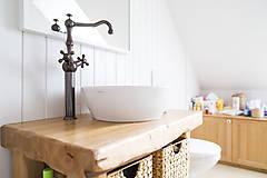 Nábytok - Stolík - skrinka pod umývadlo - NATURAL masív - 8994135_