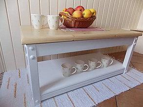 Nábytok - Stolík - lavica z masívu (prírodný + biely) - 8993686_