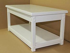Nábytok - Stolík - lavica z masívu (Celý biely) - 8993704_