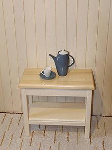 Nábytok - Stolík odkladací pevný - s poličkou - 8993770_