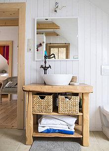 Nábytok - Stolík - skrinka pod umývadlo - NATURAL masív (BUK prírodný) - 8993903_