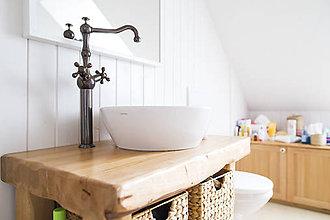 Nábytok - Stolík - skrinka pod umývadlo - NATURAL masív (JASEŇ) - 8994135_