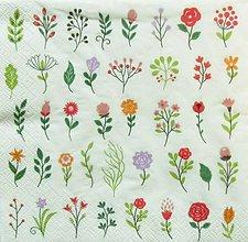 Papier - S1097 - Servítky - kvet, kvietky, kvetinky, herbár, mini, rozkošné - 8992538_
