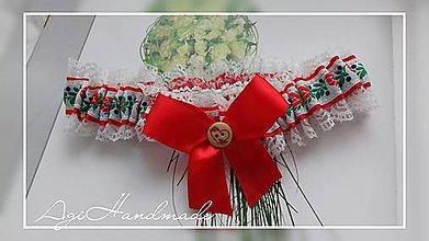 Bielizeň/Plavky - podväzok pre nevestu ,, červený folk ,, - 8993361_