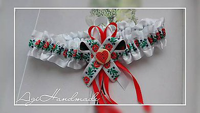 Bielizeň/Plavky - svadobný podväzok folk - 8993460_
