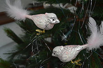 Dekorácie - Vtáčik v ružovo-púdrovej farbe - 8994565_