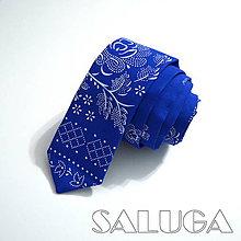 Doplnky - Folklórna modrá slim kravata - pánska - 8994821_