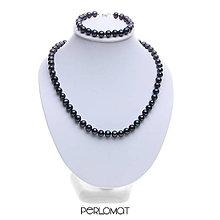 Sady šperkov - Perlová souprava černá dvoudílná, perly 7-7,5mm, 42+18cm, Rh Ag 925 - 8995448_