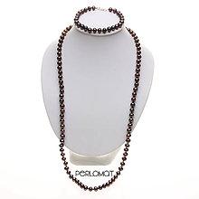 Sady šperkov - Perlová souprava černá, AA-6,5x6,7 mm, 60+19 cm, Rh Ag 925 - 8995462_