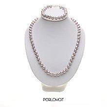 Sady šperkov - Perlová souprava šedá, AA+ 7,5 mm, 45,5+18,5 cm, Ag 925 - 8995483_
