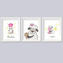 Detské doplnky - personalizovaná 3 séria obrazov do detskej izby pre dievčatko  s údajmi o narodení a ovečkou - 8992877_