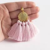 Náušnice - Zlaté náušnice so strapčekmi - ružové, mosadz - 8995738_