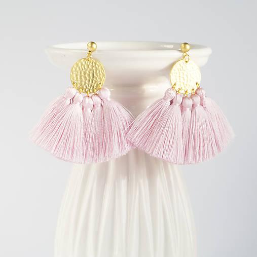 Zlaté náušnice so strapčekmi - ružové, mosadz