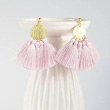 Náušnice - Zlaté náušnice so strapčekmi - ružové, mosadz - 8995727_