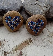 Dekorácie - Modré srdiečka - Na kameni maľované - 8994174_