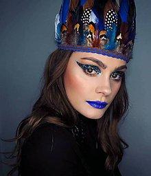 Ozdoby do vlasov - Modrá bohémská čelenka z peria - 8995784_