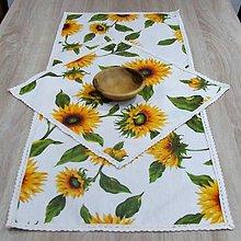 Úžitkový textil - Slnečnice na bielej - obrus obdĺžnik 90x40 - 8992226_