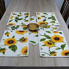 Úžitkový textil - Slnečnice na bielej - prestieranie 26x36 - 8992299_