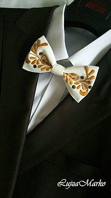 Doplnky - Krémové listy motýlik - 8994222_