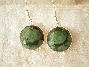 Náušnice - Náušnice z polyméru, zelené hlbiny - 8992516_