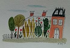 - Skleník 3 pohľadnica  ilustrácia / originál maľba  - 8998351_
