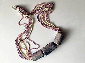 Náhrdelníky - náhrdelník ružovofialkový - 8997812_