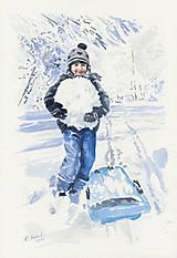 Obrazy - Chlapec so snehovou guľou - 8996461_