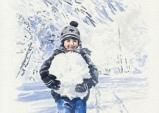 Obrazy - Chlapec so snehovou guľou - 8996484_