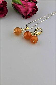 Sady šperkov - karneol náušnice a prívesok - 8997252_