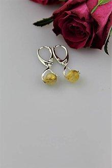 Náušnice - Náušnice sagenit v striebre - kúsok slnka v kameni - 8998889_