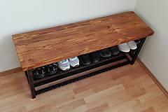 Nábytok - Kovaný botník, Regál na topánky, Kovový botník, Lavica - 8995897_