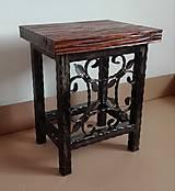 Nábytok - Kovaná stolička, stolček - 8995929_