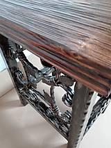 Nábytok - Kovaná stolička, stolček - 8995930_