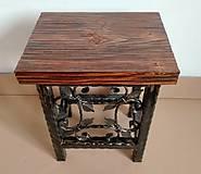 Nábytok - Kovaná stolička, stolček - 8995931_