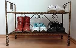 Nábytok - Kovaný regál na topánky, botník - 8996370_