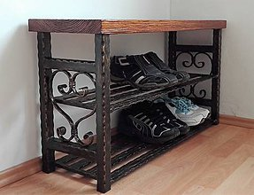 Nábytok - Kovaný botník, Regál na topánky, Lavica, Kovový botník (dĺžka 120 cm) - 8995859_