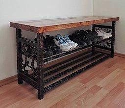 Nábytok - Kovaný botník, Regál na topánky, Kovový botník, Lavica (dĺžka 110 cm) - 8995891_