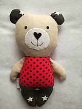 Hračky - Medvedík sivo - červený - 8996868_