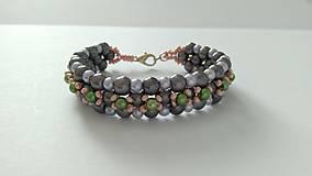 Náramky - Sivo-zelený náramok - 8997082_