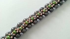 Náramky - Sivo-zelený náramok - 8997083_