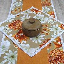 Úžitkový textil - Oranžovo biele kvety - obrus štvorec 40x40 - 8998148_